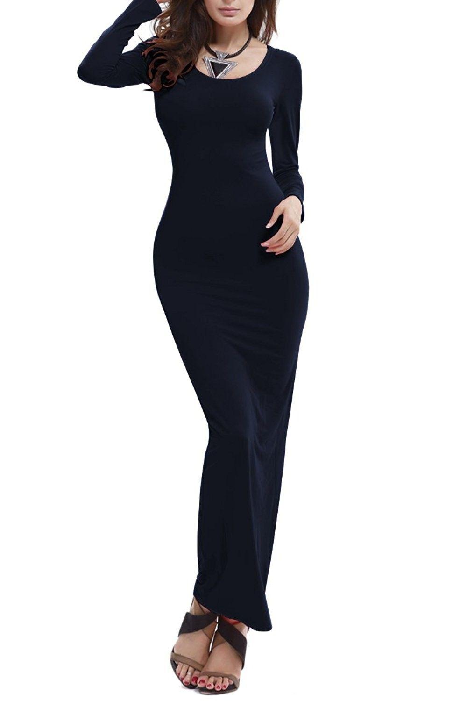 Women S Basic Multi Colored Long Sleeve Stretchy Bodycon Long Maxi Dress Black Cz12o6y2jsj Long Dress Casual Long Sleeve Dress Long Black Maxi Dress [ 1500 x 1000 Pixel ]