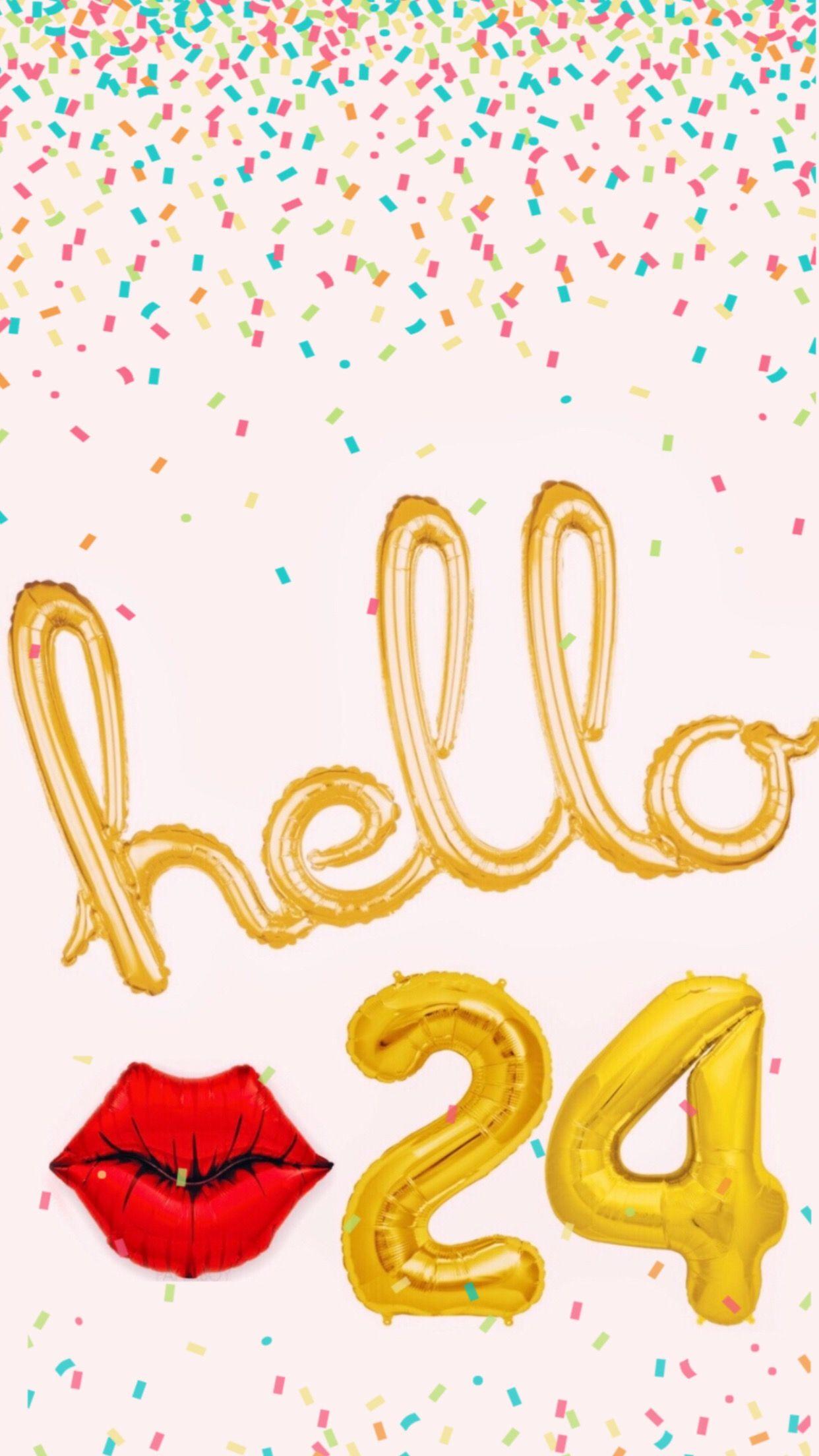 Hello 24 Foil Balloon Background | Happy 24th birthday
