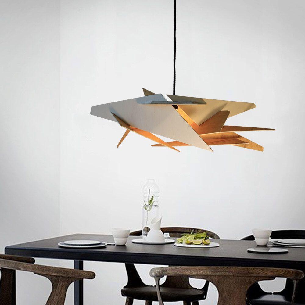 wood Pendant Light lasercut Chandelier lamp Handmade plywood ...