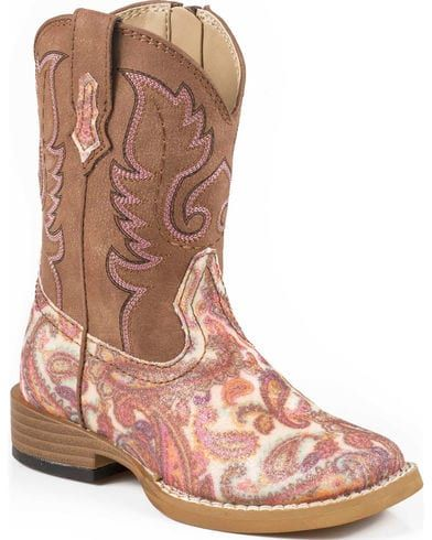Roper Toddler Glitter Paisley Cowgirl Boots Square Toe