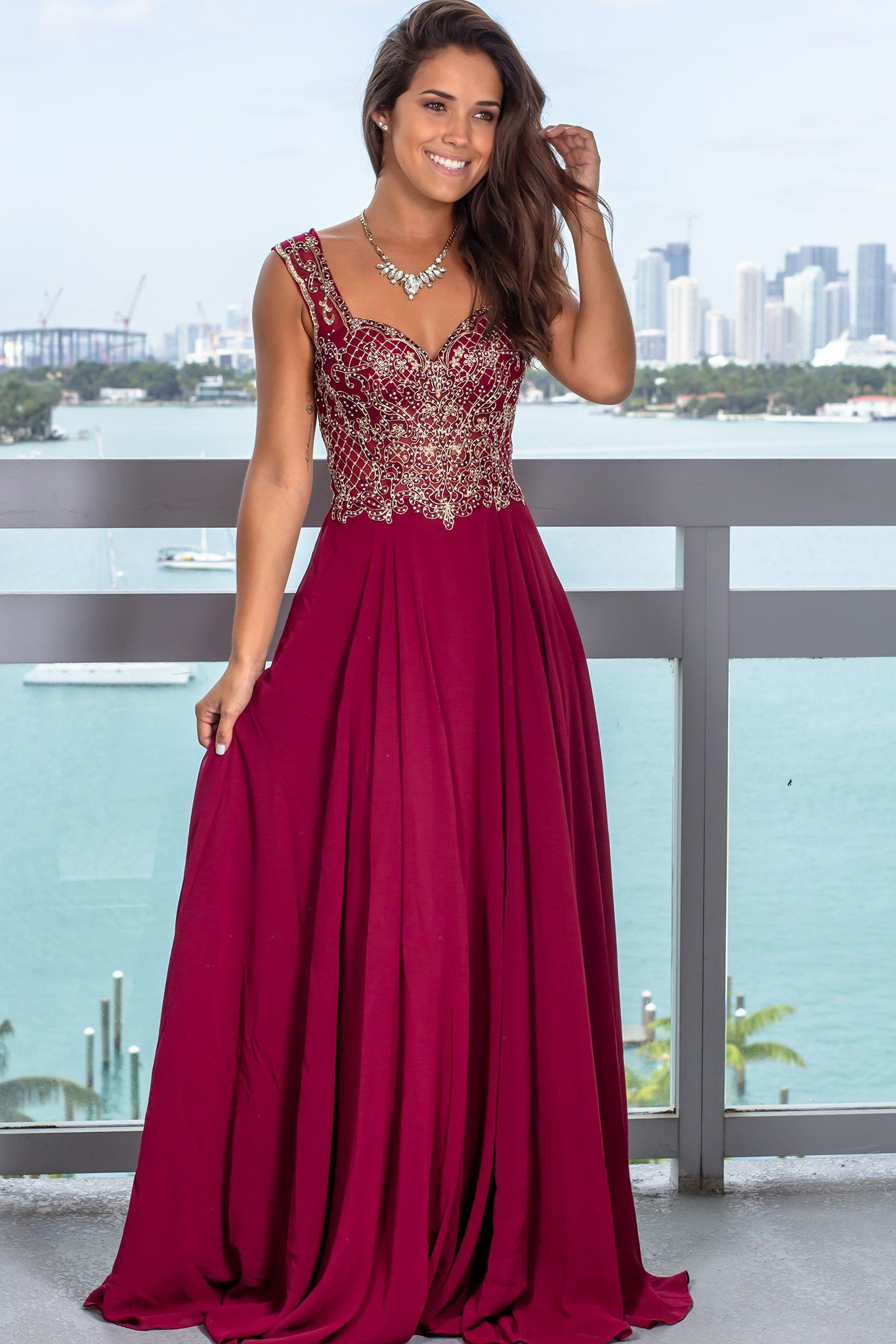 Wine Maxi Dress With Jewel Embroidered Top Wine Maxi Dress Dresses Gala Dresses [ 2047 x 1365 Pixel ]