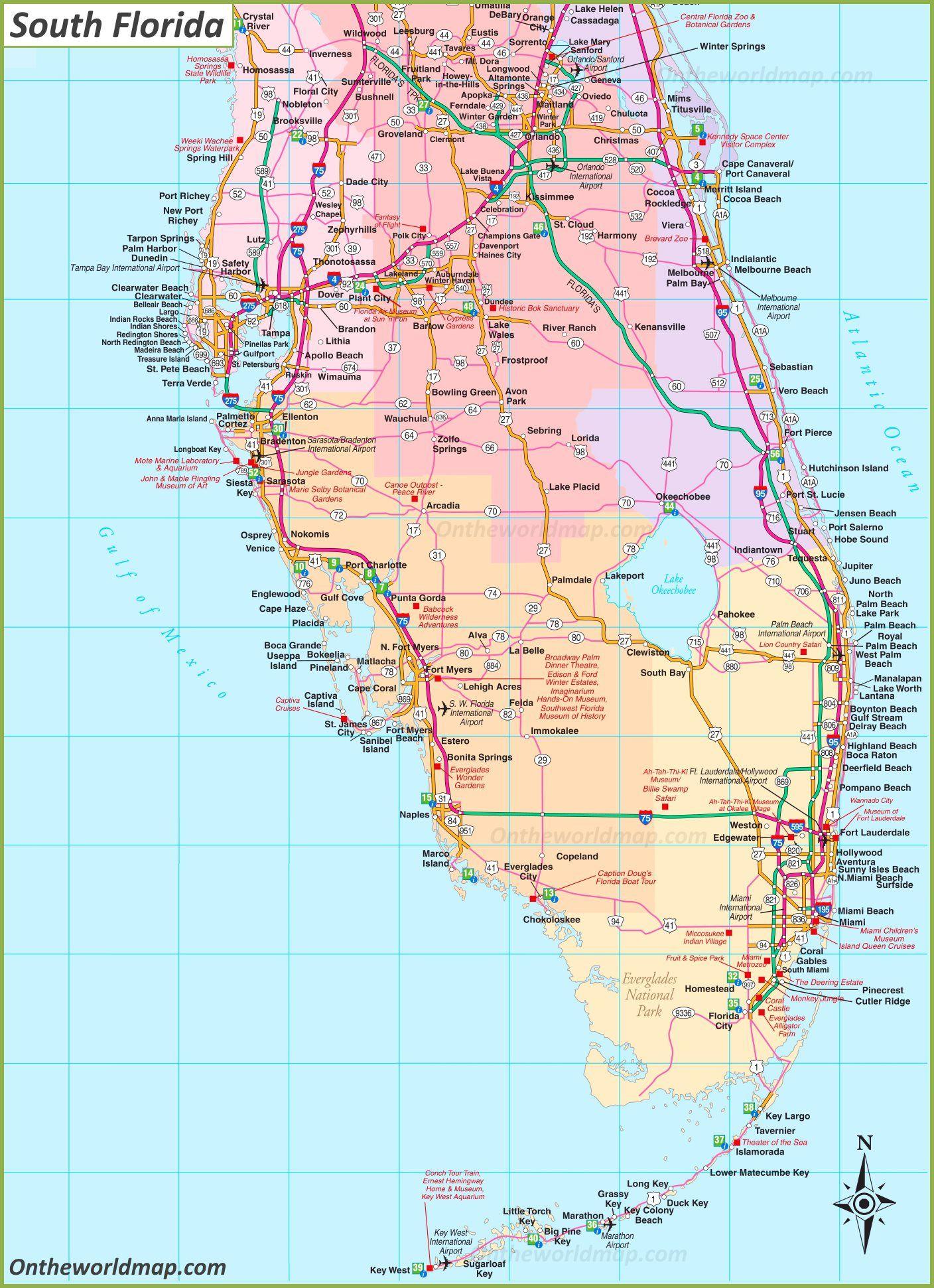 Florida State Map Map Of Florida South Florida Map