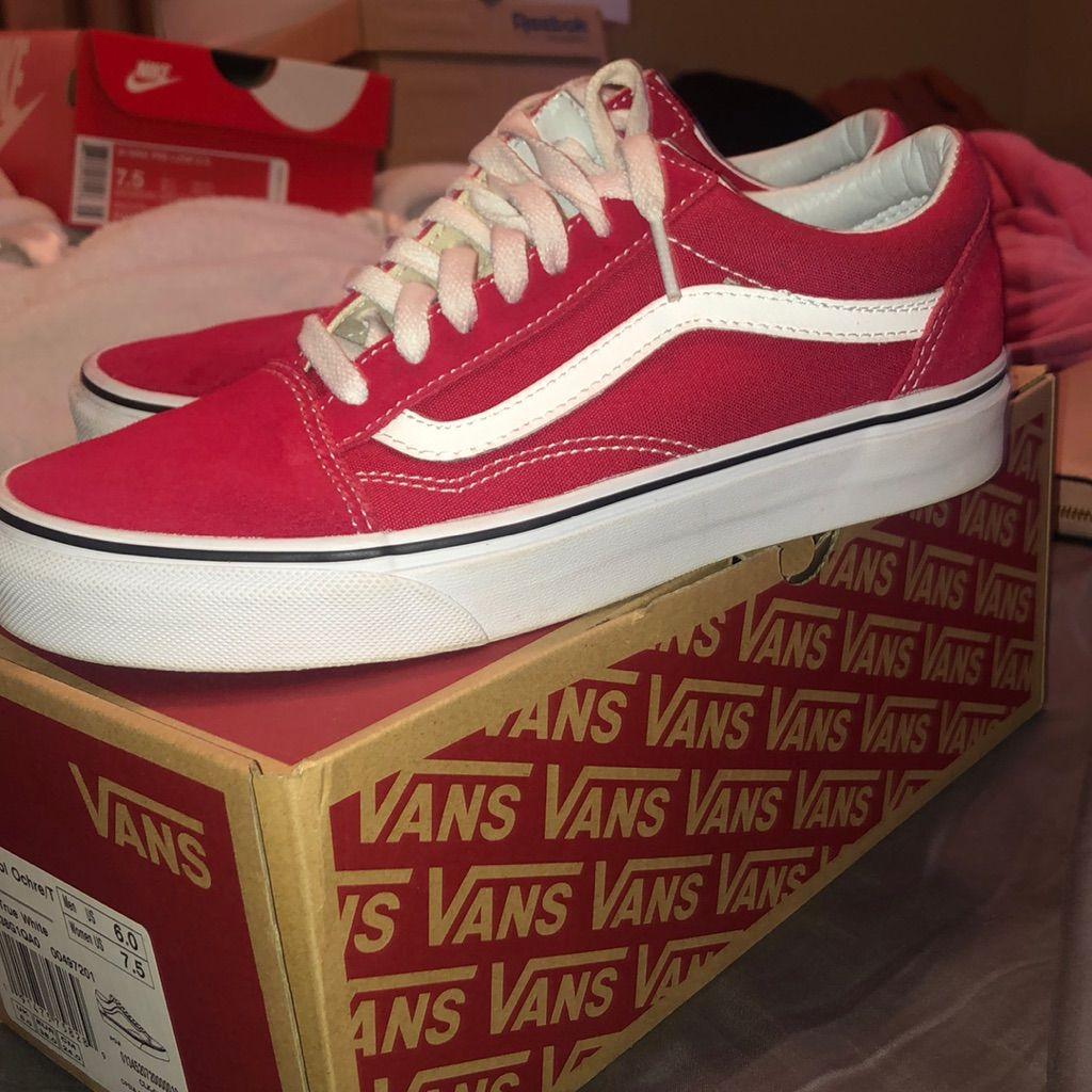 Red Old Skool Vans Womens 6