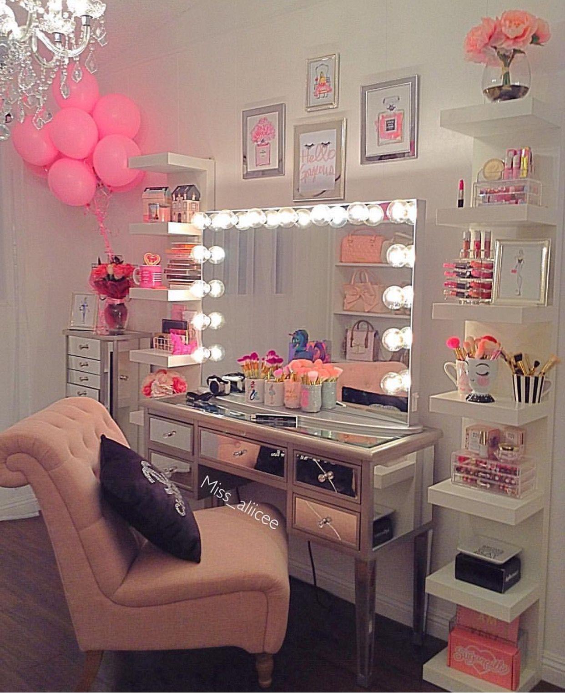 Boho Makeup Vanity Organization