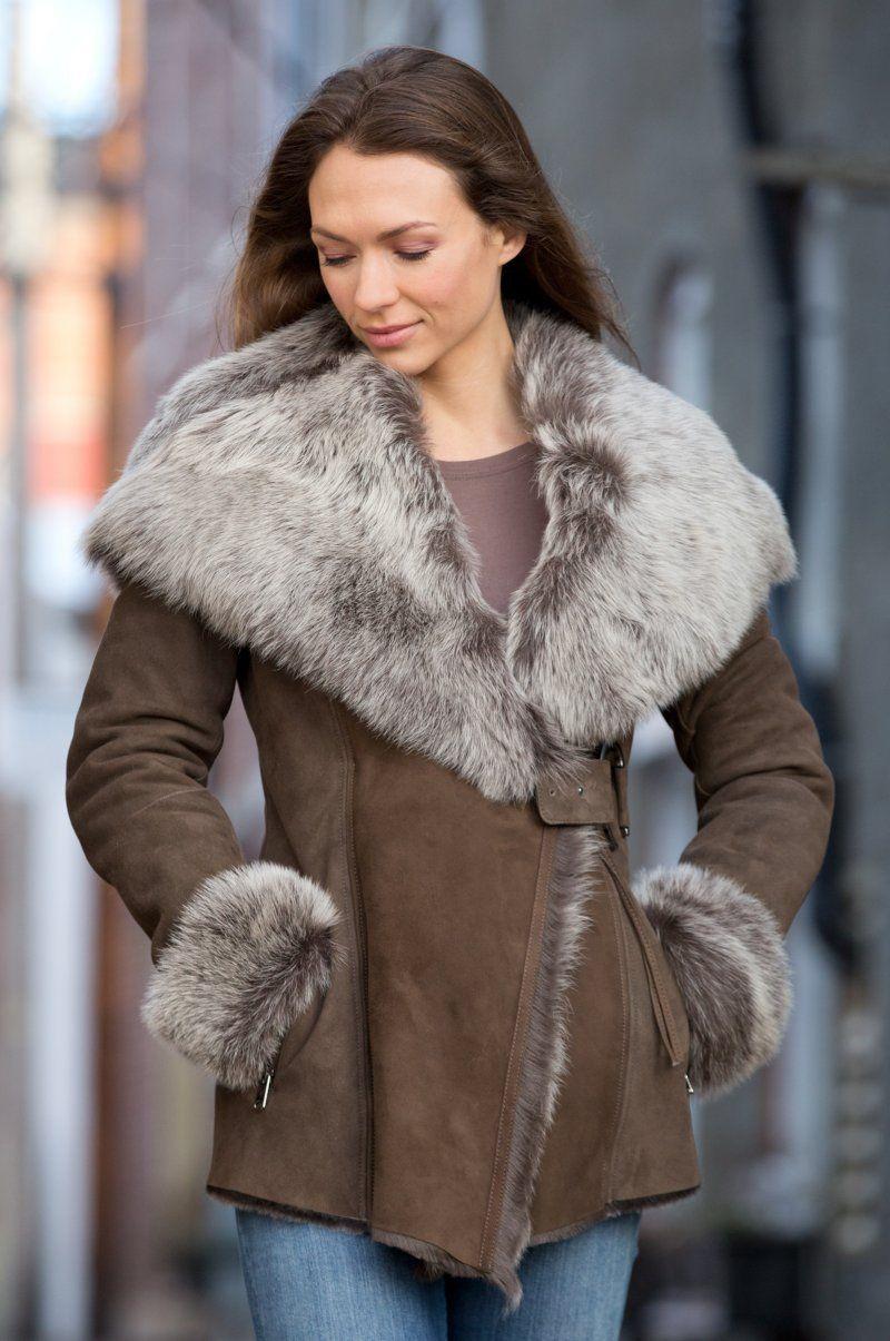 Felicia Shearling Sheepskin Jacket with Toscana Trim
