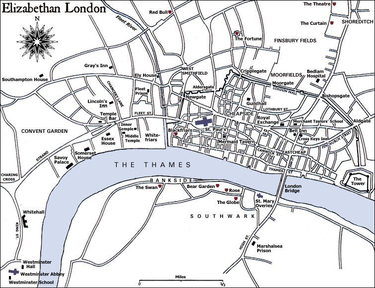 Map of London theatres early 17th Century All Souls Trilogy