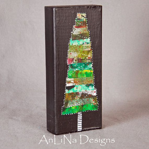 Tree Large Mixed Media Art Block 8x4x2
