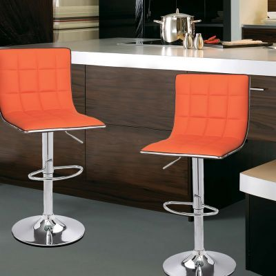 Strange Adeco Orange Adjustable Height Barstool Stool Chairs Chrome Inzonedesignstudio Interior Chair Design Inzonedesignstudiocom