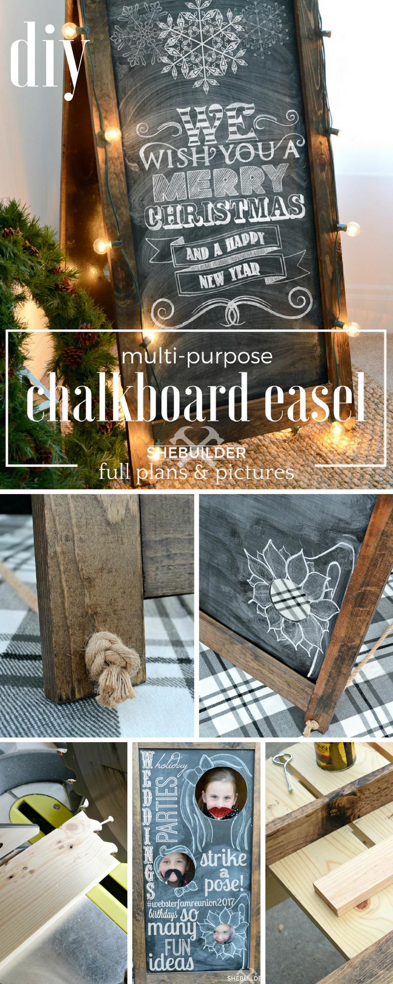 DIY Multi Purpose Chalkboard Easel | Chalkboard easel ... on Easel Decorating Ideas  id=75206