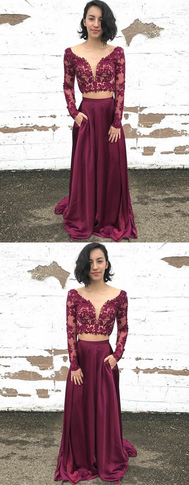 Two piece bateau long sleeves maroon prom dress with appliques
