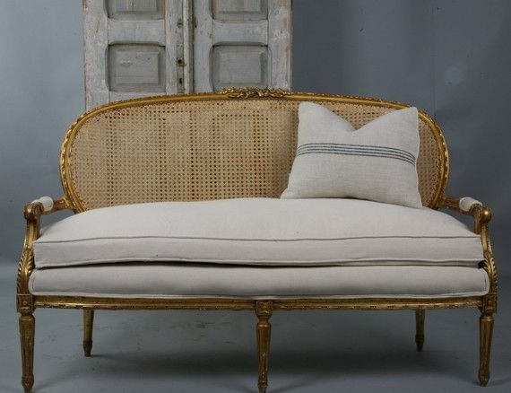 Antique French Cane Gilt Carved Sofa New Upholstery    As with all items from Paris Couture Antiques shipping is only .01!!!