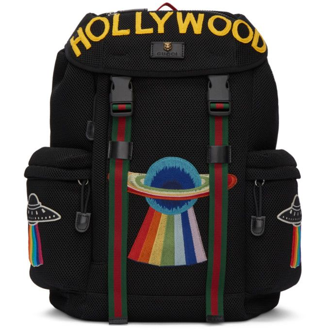 3df35a49346 GUCCI Black Mesh  Hollywood  Backpack.  gucci  bags  leather  backpacks