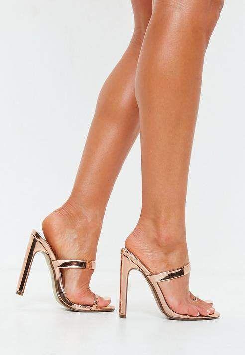 57c496143c76 Missguided Rose Gold Toe Post Mule Heels