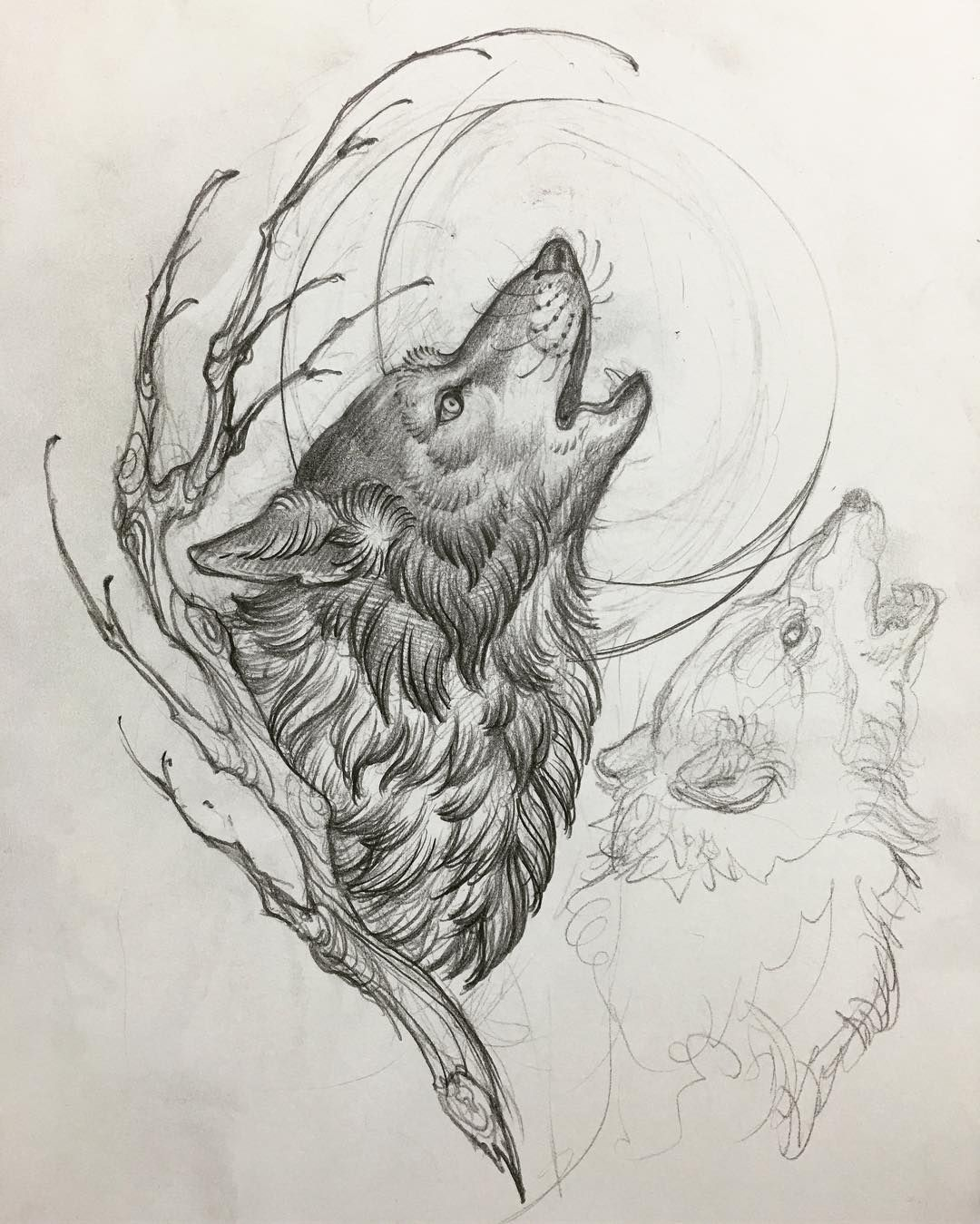 1 078 Likes 9 Comments Matt Buck He Draws On Instagram One Wolf Moon Noidolsnyc Wolftattoo In 2020 Wolf Tattoo Design Wolf And Moon Tattoo Wolf Tattoos