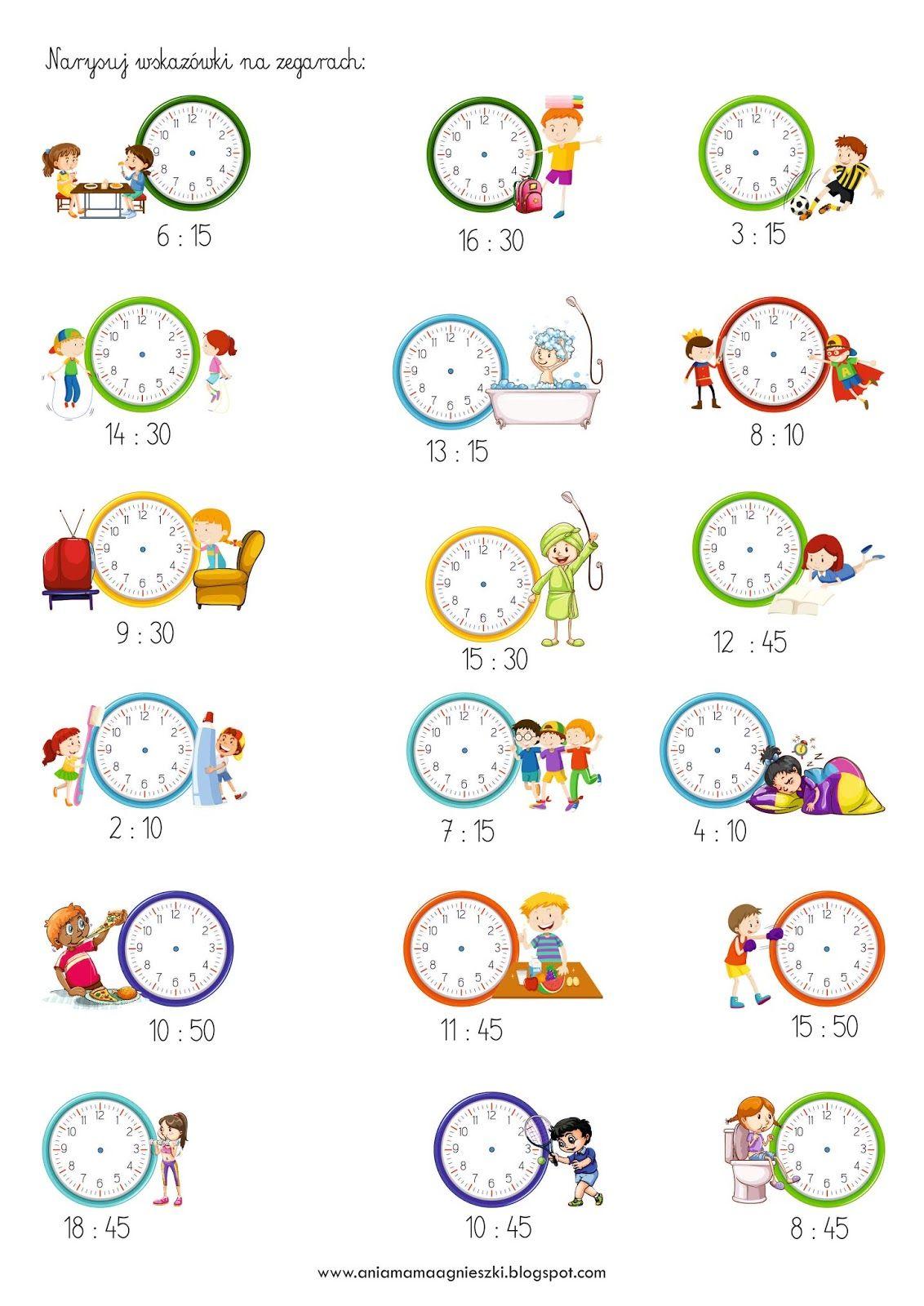 Ania Mama Agnieszki Zegar Godziny Minuty Zadania Fun Math Worksheets Kids Math Worksheets Learning Math [ 1600 x 1132 Pixel ]