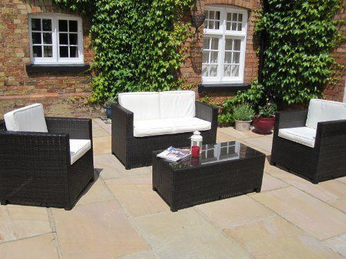 Tiffany Grey Rattan Sofa, 2 Armchairs and CoffeeTable Garden or ...