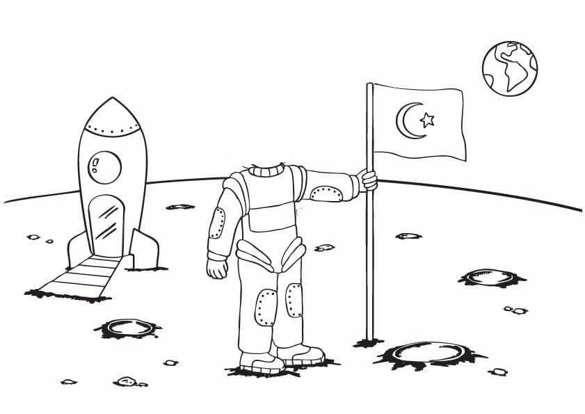 Astronot Okul Oncesi Boyama Sayfalari Okul