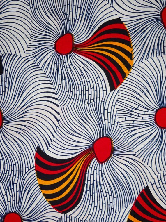 African Fabric White African Print Fabric African Fabric By The