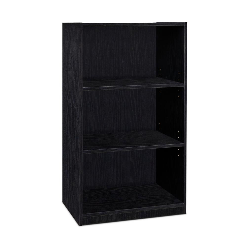 Furinno 40 3 In Black Wood 3 Shelf Standard Bookcase With