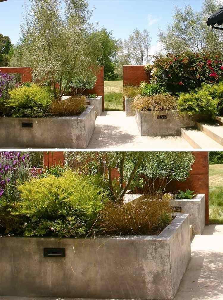 parterre sur lev et bac fleurs en b ton 10 id es modernes et cr atives bac et jardini re. Black Bedroom Furniture Sets. Home Design Ideas