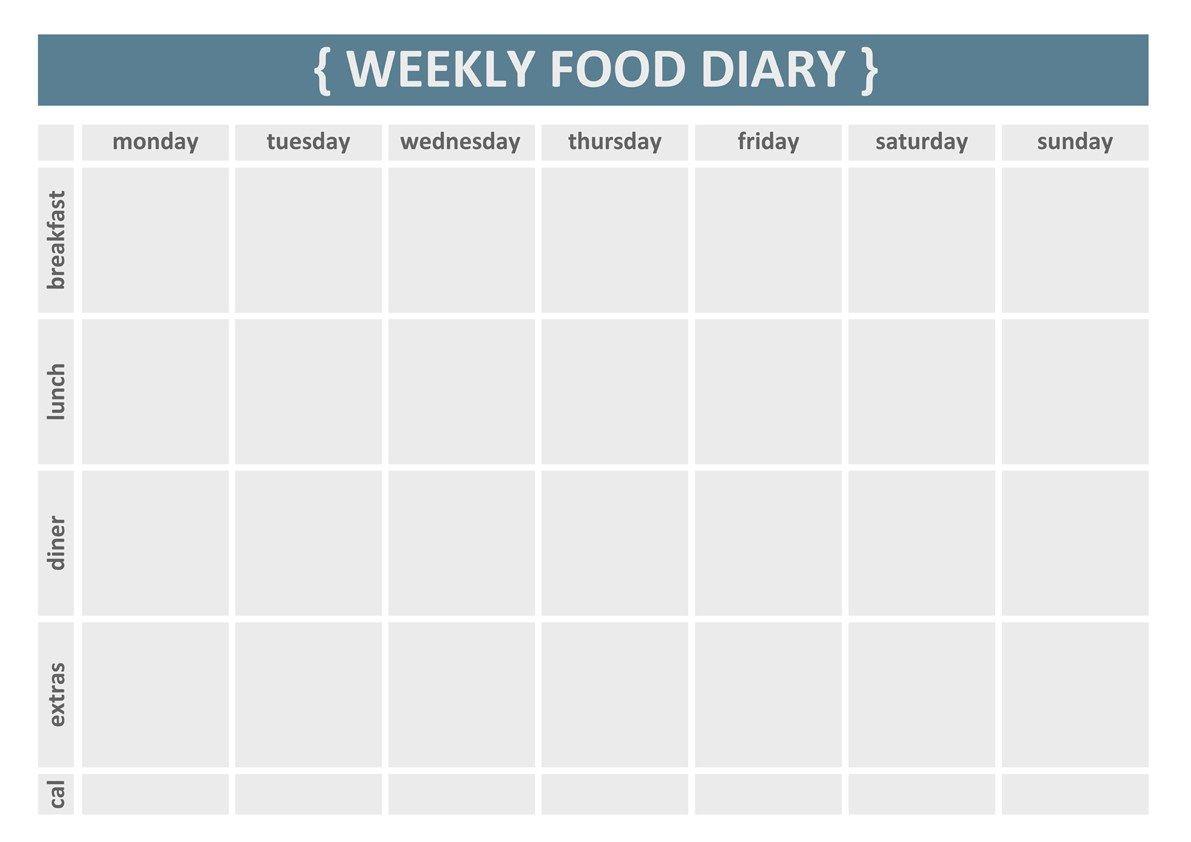 image regarding Printable Weekly Food Log referred to as Printable Weekly Food items Magazine Template Physical fitness Healthful