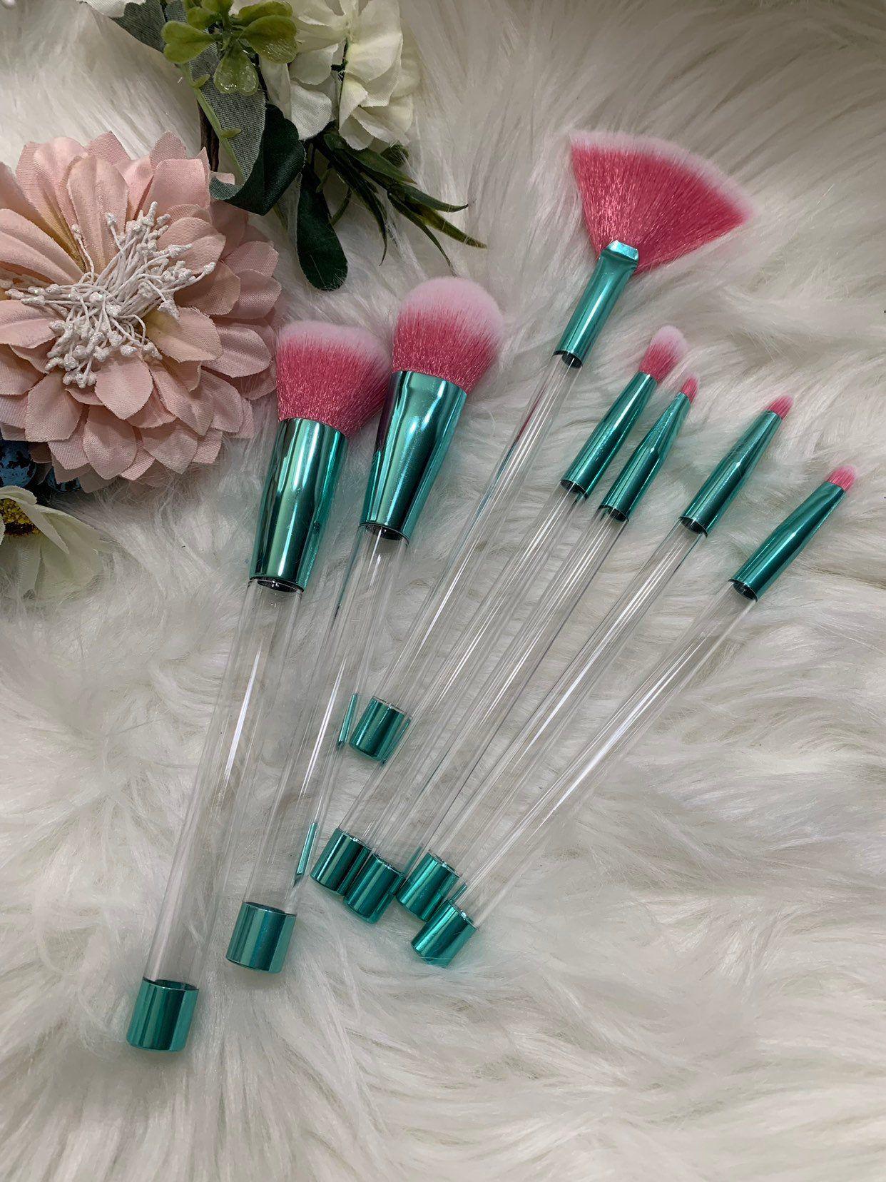Blue Tip Pink Glitter Tubes Makeup Brush Set Pink