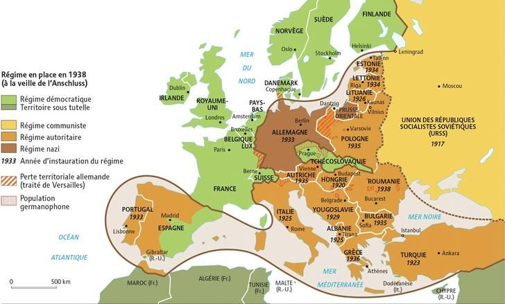Map of political regimes in Europe in 1938 | maps & History | Map ...