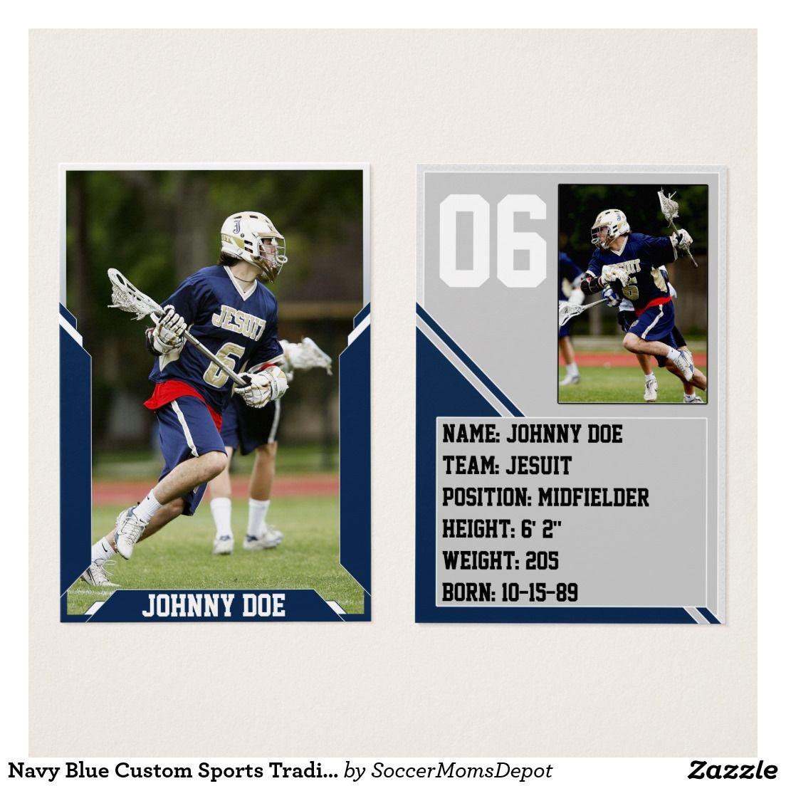 Navy Blue Custom Sports Trading Card Pack (100) Zazzle
