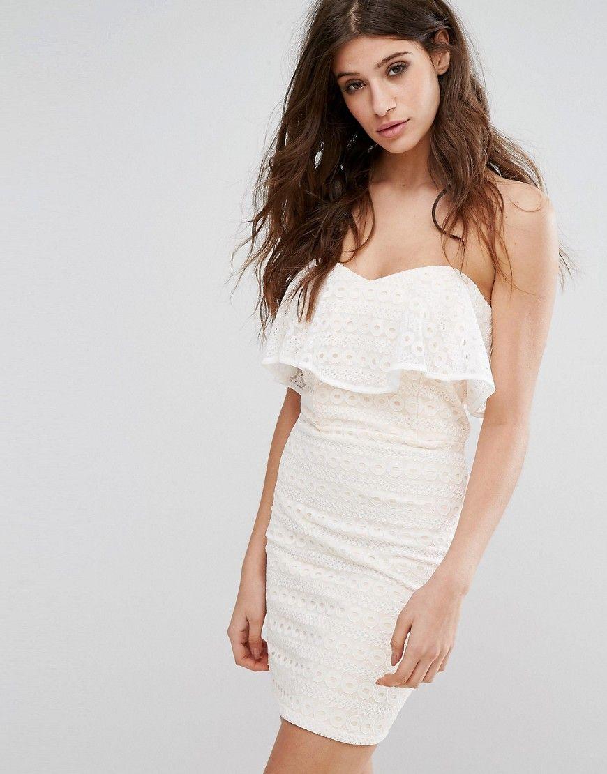 Miss Selfridge - Trägerloses Minikleid aus Spitze - Weiß Jetzt ...