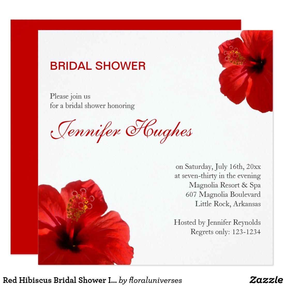 Red Hibiscus Bridal Shower Invitation | Summer Weddings | Pinterest ...