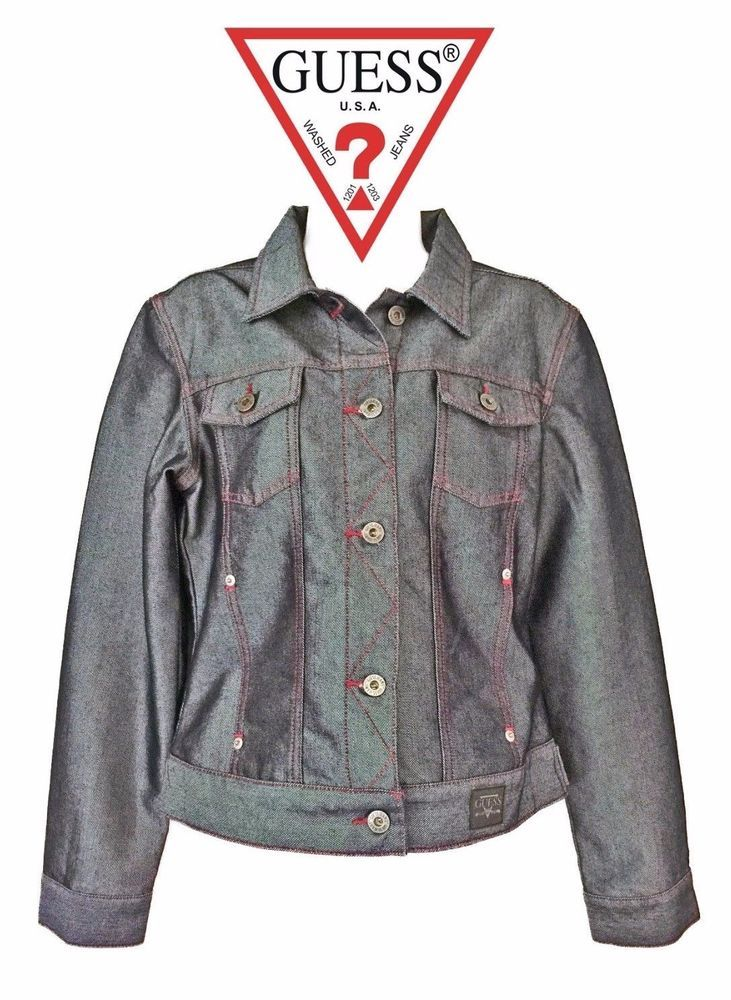 Retro Vintage Guess Jeans Premium Denim Jacket Pink Thread Metallic