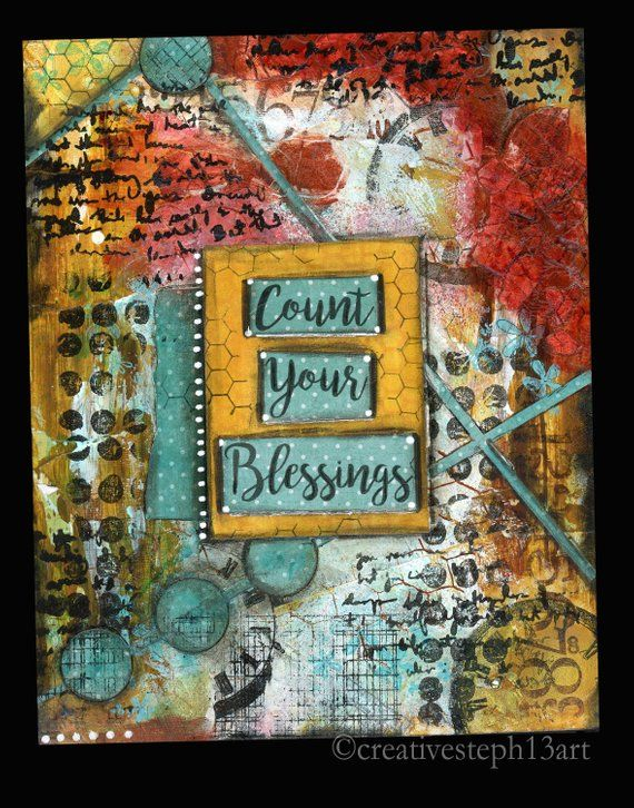 Count Your Blessings Faith Art Print, Thankful Quote #artjournalmixedmediainspiration