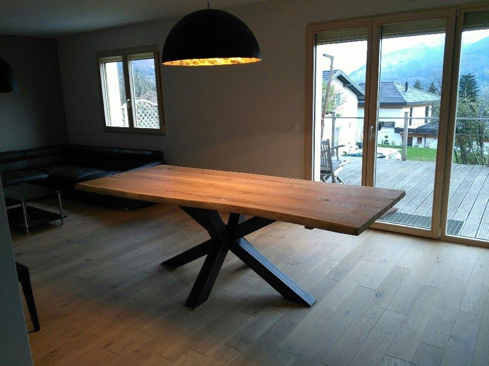 table bois metal pied central design