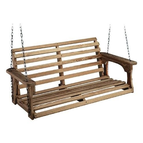 Beecham Swing Co Roll Back Treated Wood Porch Swing Brown