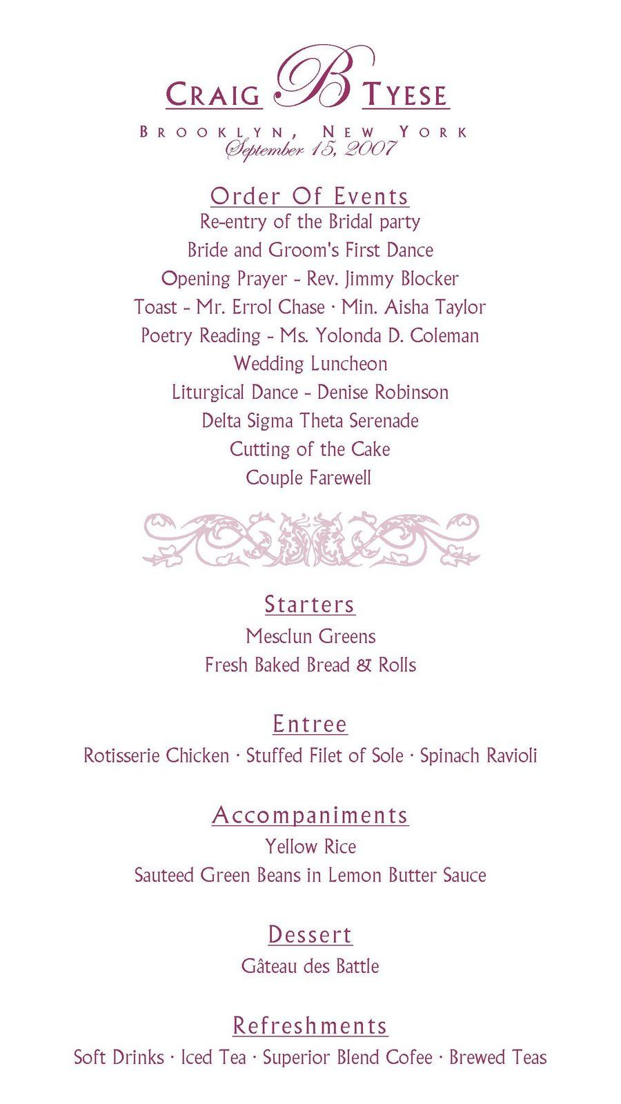 sample reception program | Wedding Bells | Pinterest | Reception ...