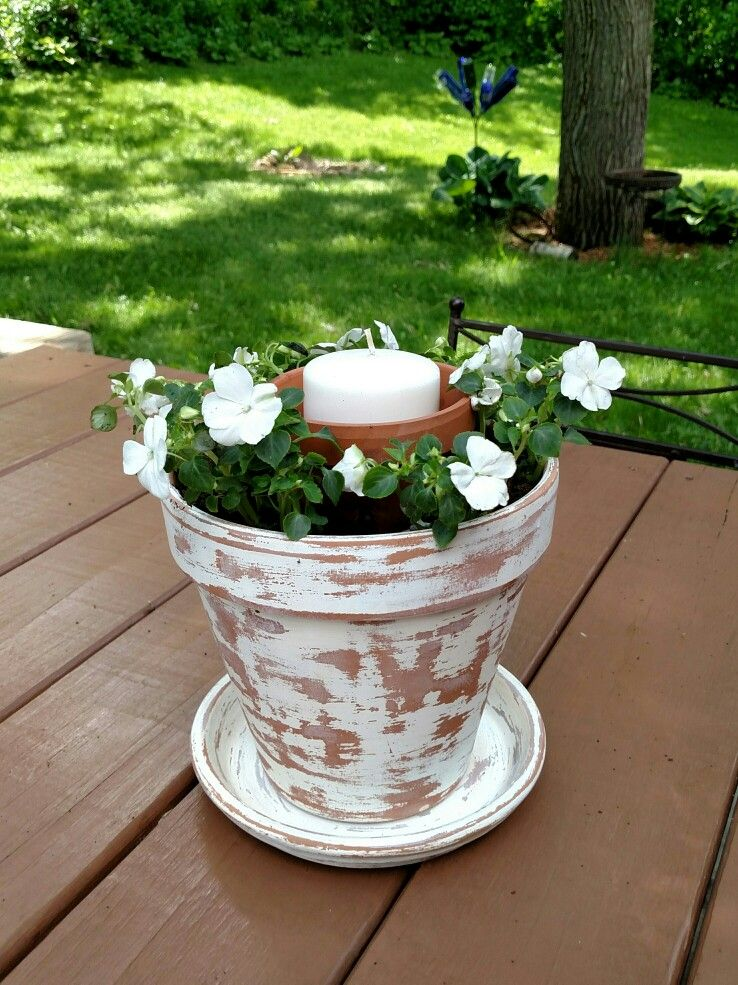 Terra Cotta flower pot/candle holder