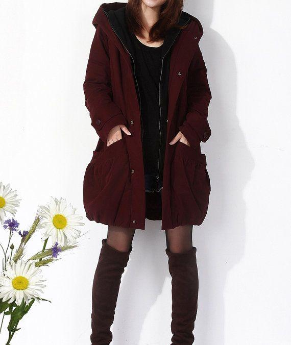 Maroon cotton thick women coat autumn jacket by fashionwomanstore ...