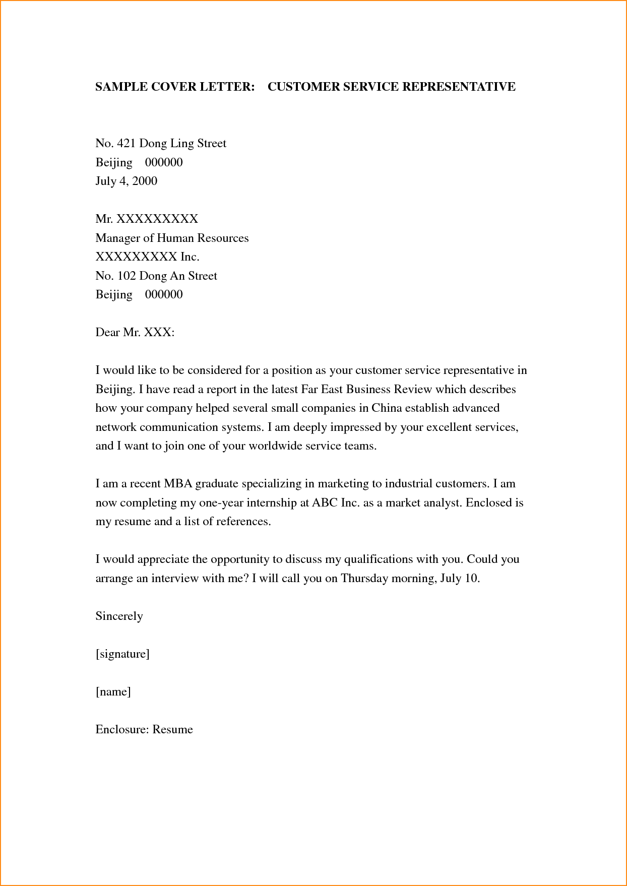 Cover Letter Example Customer Service Basic Job Appication Sample