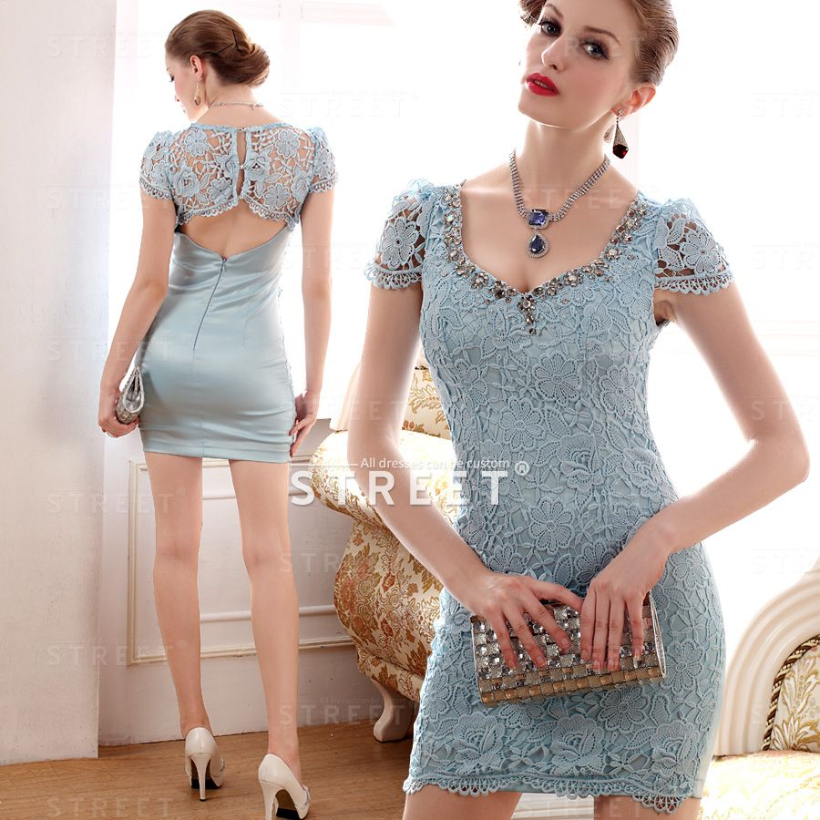 Ice Lace V Neck Short High End Jeweled Edgy Cocktail Dress Summer