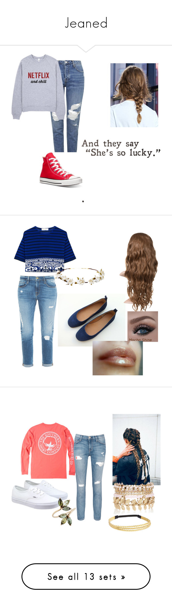 """""""Jeaned"""" by sephorawalker ❤ liked on Polyvore featuring beauty, Topshop, Converse, Emilio Pucci, Frame Denim, Cult Gaia, women's clothing, women, female and woman"""