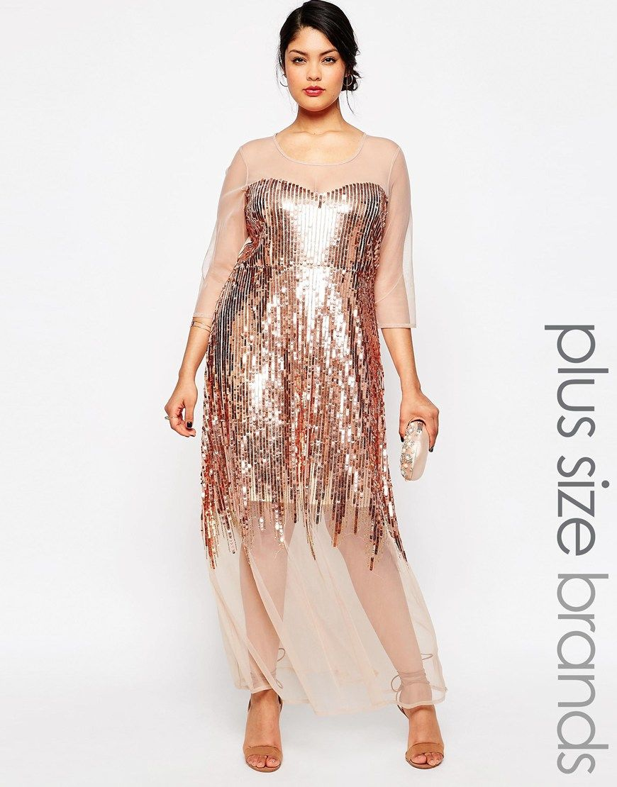 788b7b306d Plus Size Sheer Sequin Maxi Dress | Plus Size Dresses | Dresses ...
