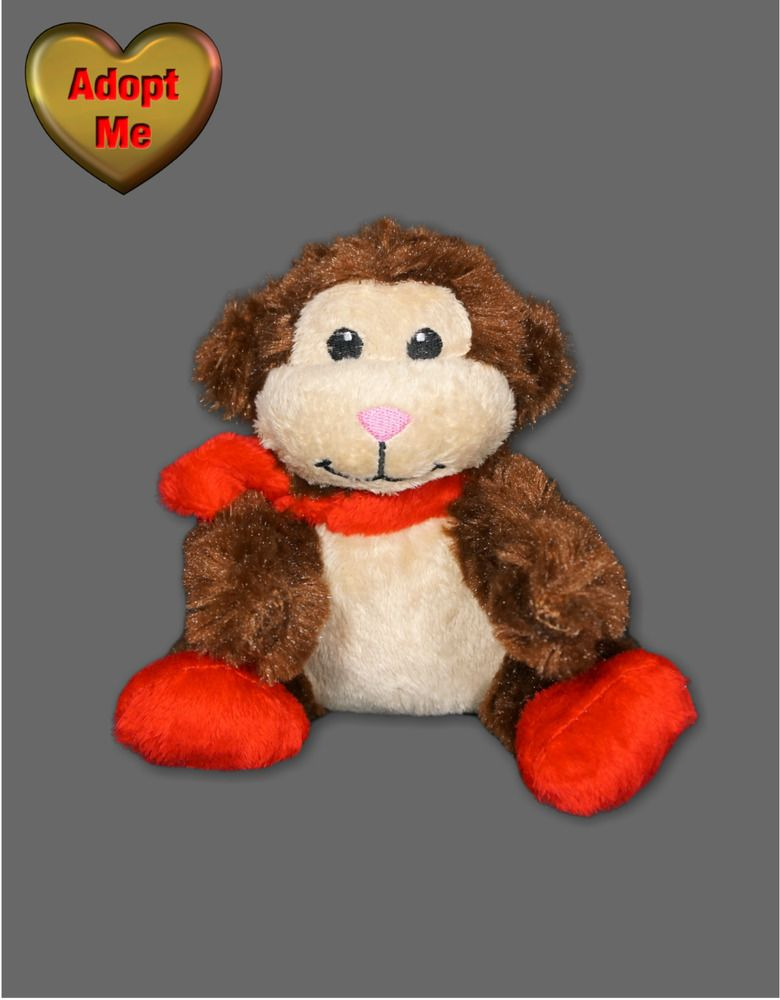 Kmart Winter Christmas Brown Monkey Chimp Red Scarf Shoes Stuffed