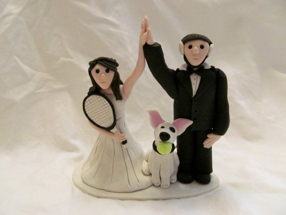 Tennis Player, Wrestler, Hand Sculpted Custom Wedding Cake Topper with Dog, Polymer Clay on Etsy, $140.00