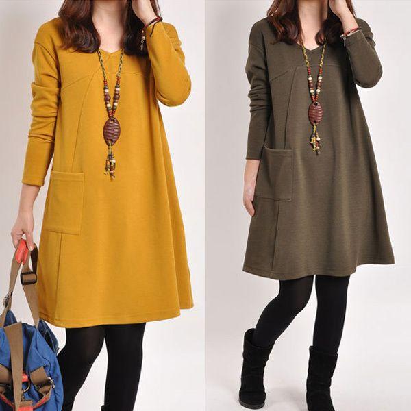 moda de nueva invierno autumn casual vestidos maternidad embarazo para mujeres embarazadas hasta las rodillas