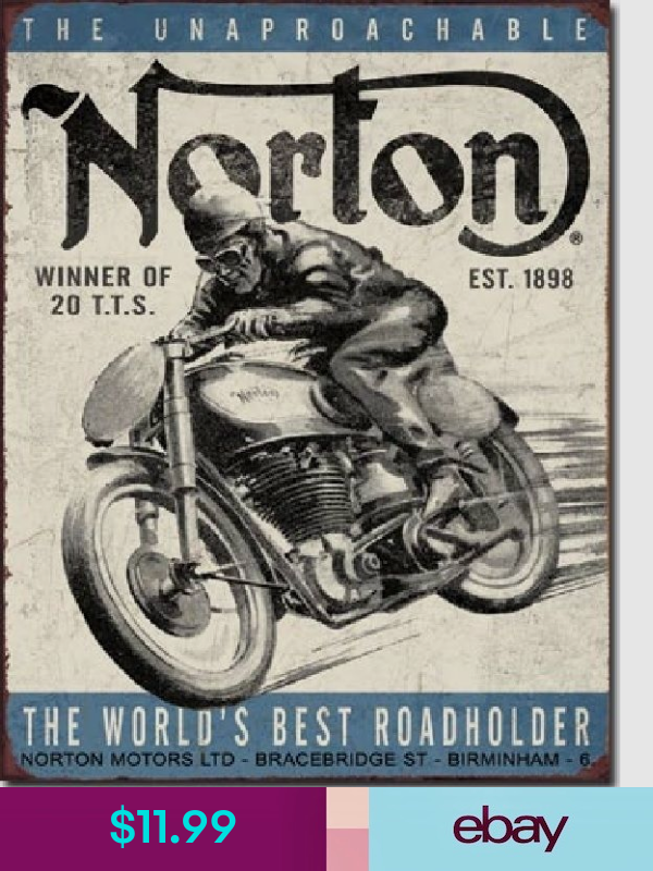 Norton Plaques Decorative Signs Ebay Collectibles Norton Motorcycle Vintage Motorcycle Posters Bike Poster