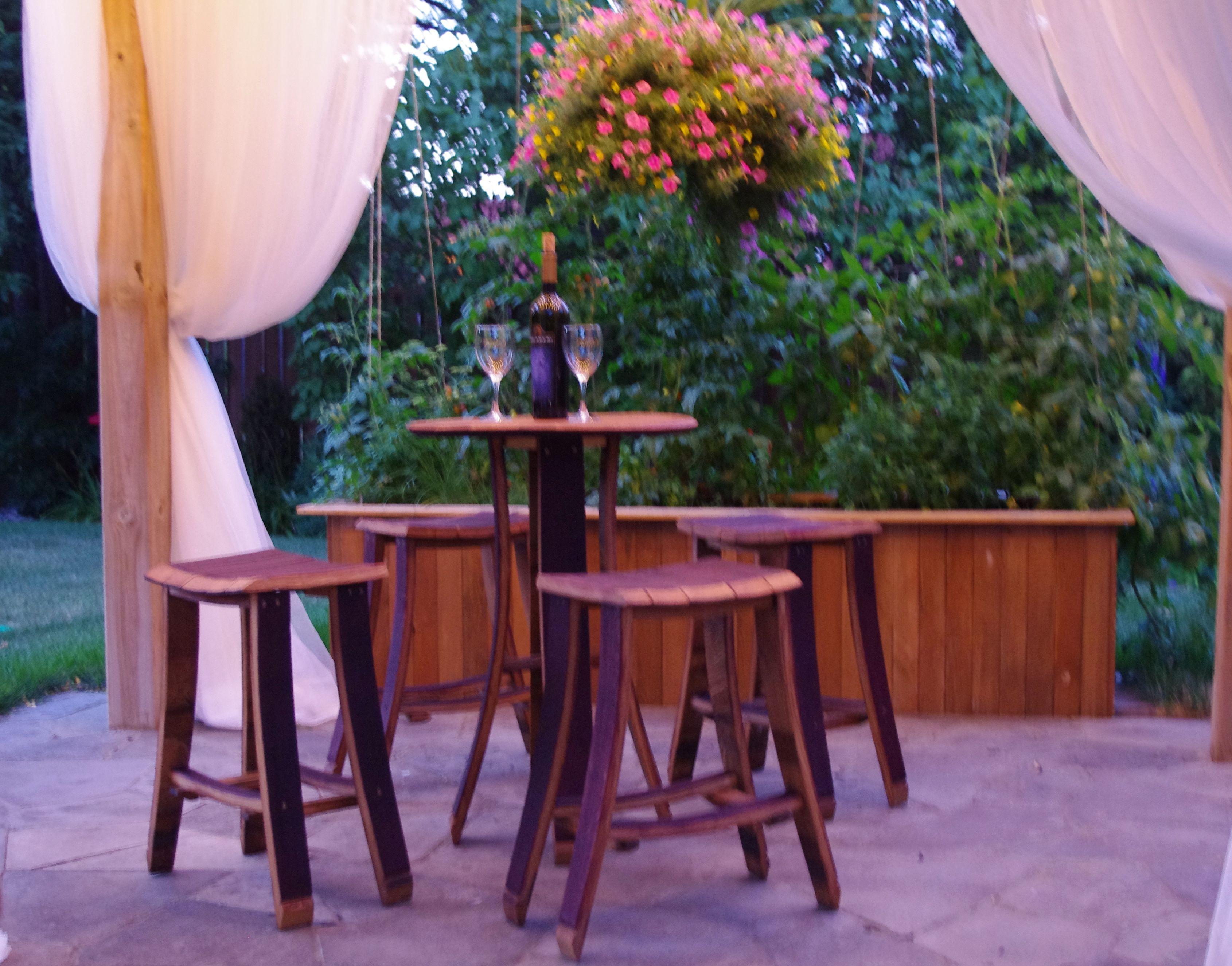 Wine Barrel Table & Stools By Backyard Barrel Company $699