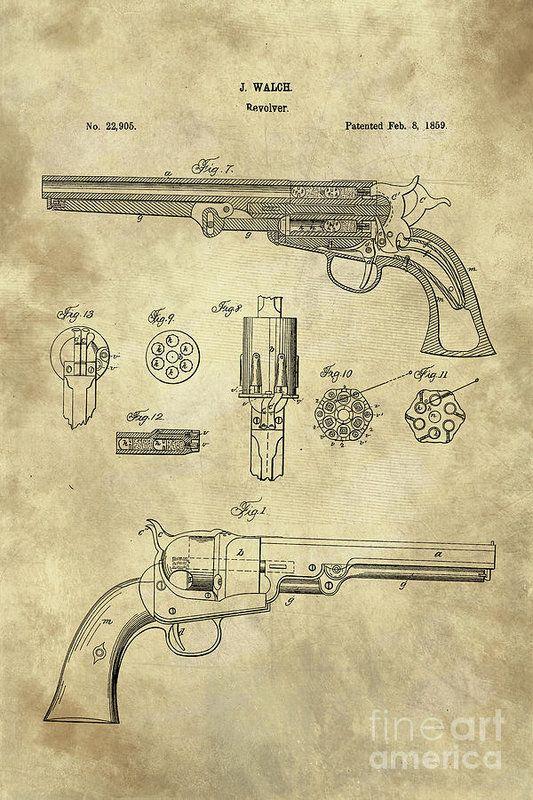 Antique Revolver Blueprint Hand Gun Patent Drawing Plan From 1859 - new blueprint gun art