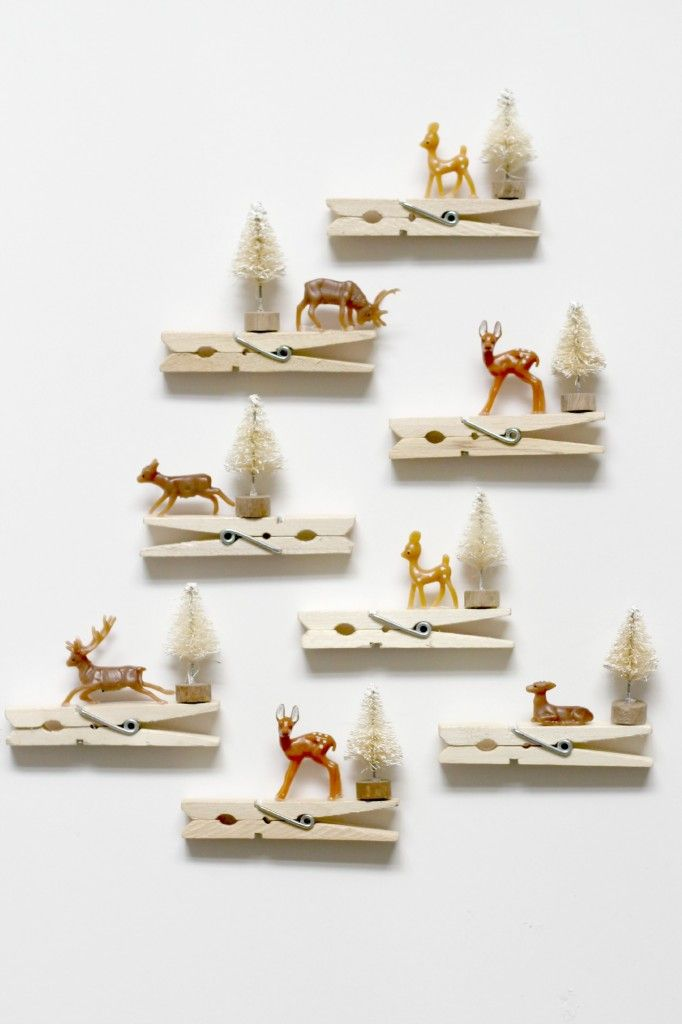 Reindeer clothespin ornaments linge d corations et no l - Deco de noel en pince a linge ...