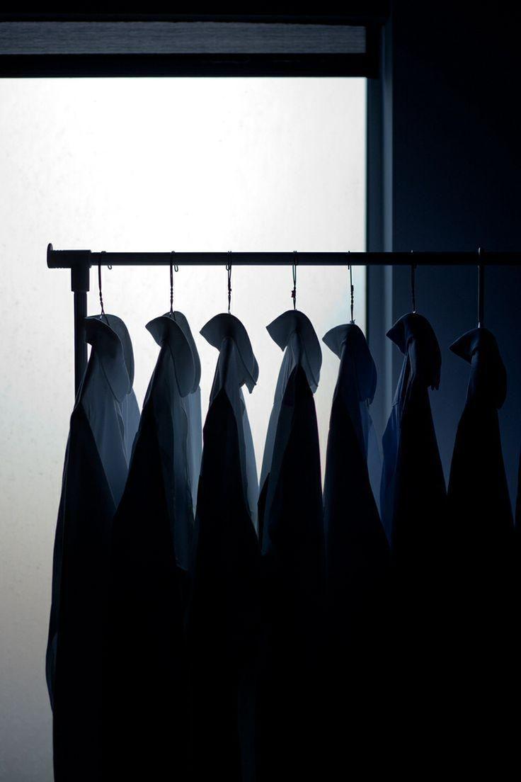 Hanging shirts.