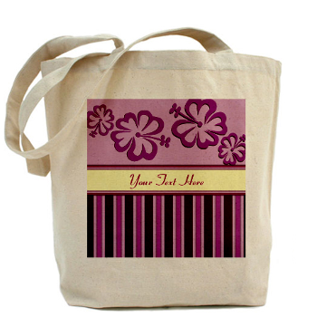Purple And Pink Stripe Hibiscus Personalized Tote